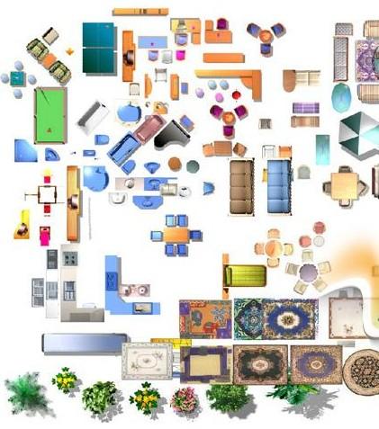 室内psd彩色平图 psd彩色户型平面图专用素材