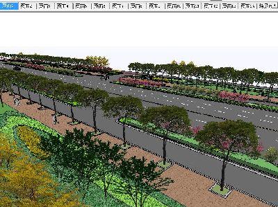 草图大师道路景观设计模型下载