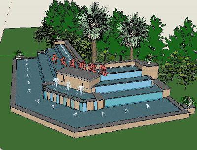 草图大师路口喷泉景观模型
