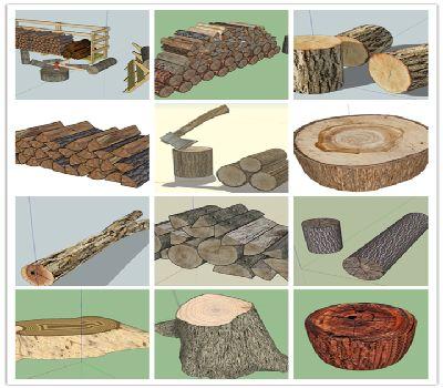 sketchup木材带年轮的树桩树墩木头柴火砍柴劈柴SU模型
