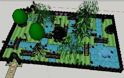 庭院水景草图大师模型