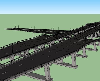 高速公路高架桥SU模型