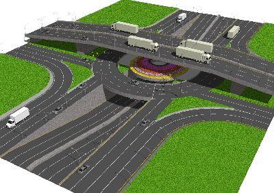 草图大师立交桥道路模型