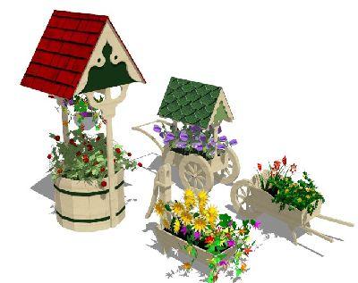 4款草图大师花车带植物模型