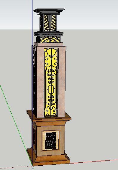 欧式灯柱草图大师模型