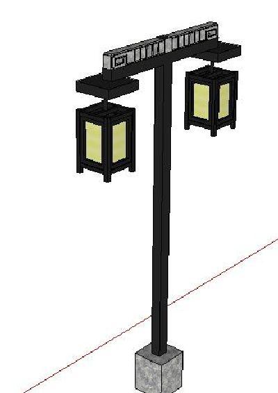 中式景观灯步行街SU模型