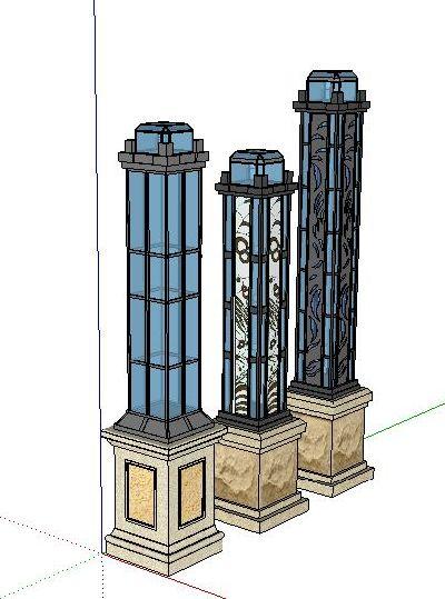 欧式柱景观灯草图大师模型