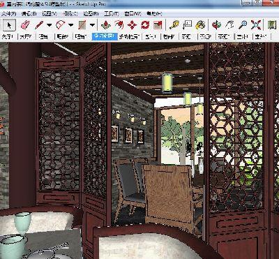 茶楼茶馆室内设计整体SU模型含建筑下载