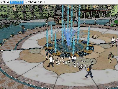 广场景观全套SU模型含喷泉水景