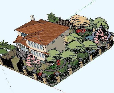 别墅花园景观草图大师模型