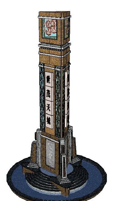 广场大型欧式灯柱SKP模型