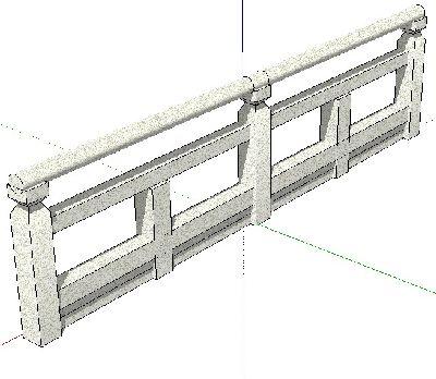 草图大师石材栏杆模型
