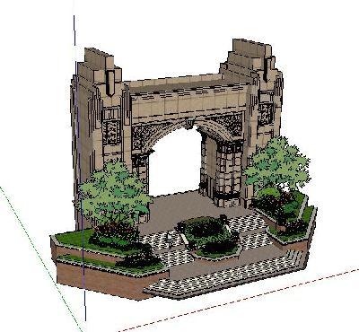 小区新古典大门建筑SU模型