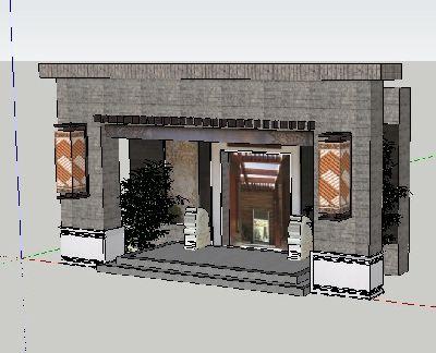 茶楼入口大门sketchup模型