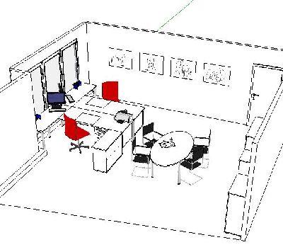 办公空间SU模型