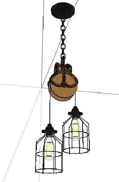 工业风吊灯su模型