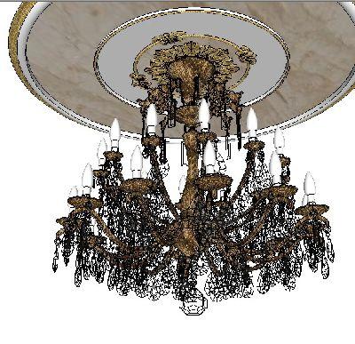 工业风欧式豪华吊灯SU模型