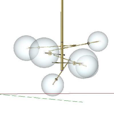 loft工业球形吊灯su模型